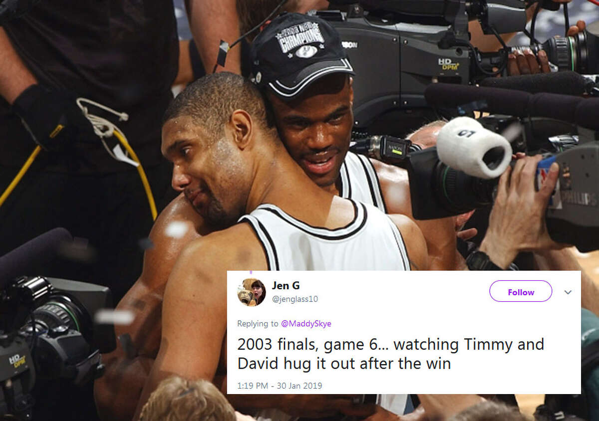 @jenglass10: 2003 finals, game 6... watching Timmy and David hug it out after the win