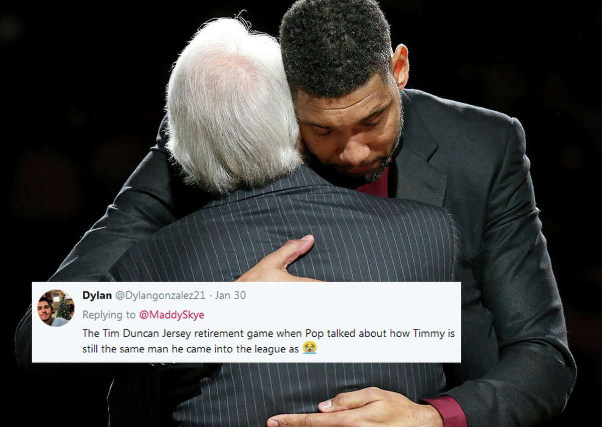 @Dylangonzalez21: The Tim Duncan Jersey retirement game when Pop talked about how Timmy is still the same man he came into the league as