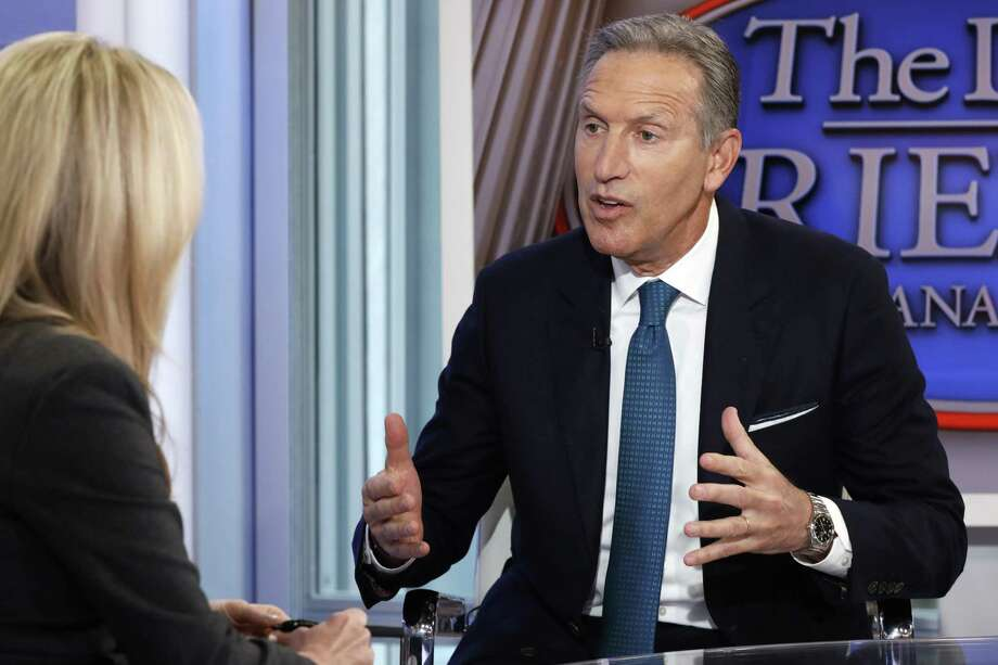 """Former Starbucks CEO Howard Schultz is interviewed by FOX News Anchor Dana Perino for her """"The Daily Briefing"""" program, in New York Wednesday. Schultz said he's flirting with an independent presidential campaign that would motivate voters turned off by both parties. He could, however, throw the election to Trump. Photo: Richard Drew /Associated Press / Copyright 2018 The Associated Press. All rights reserved."""