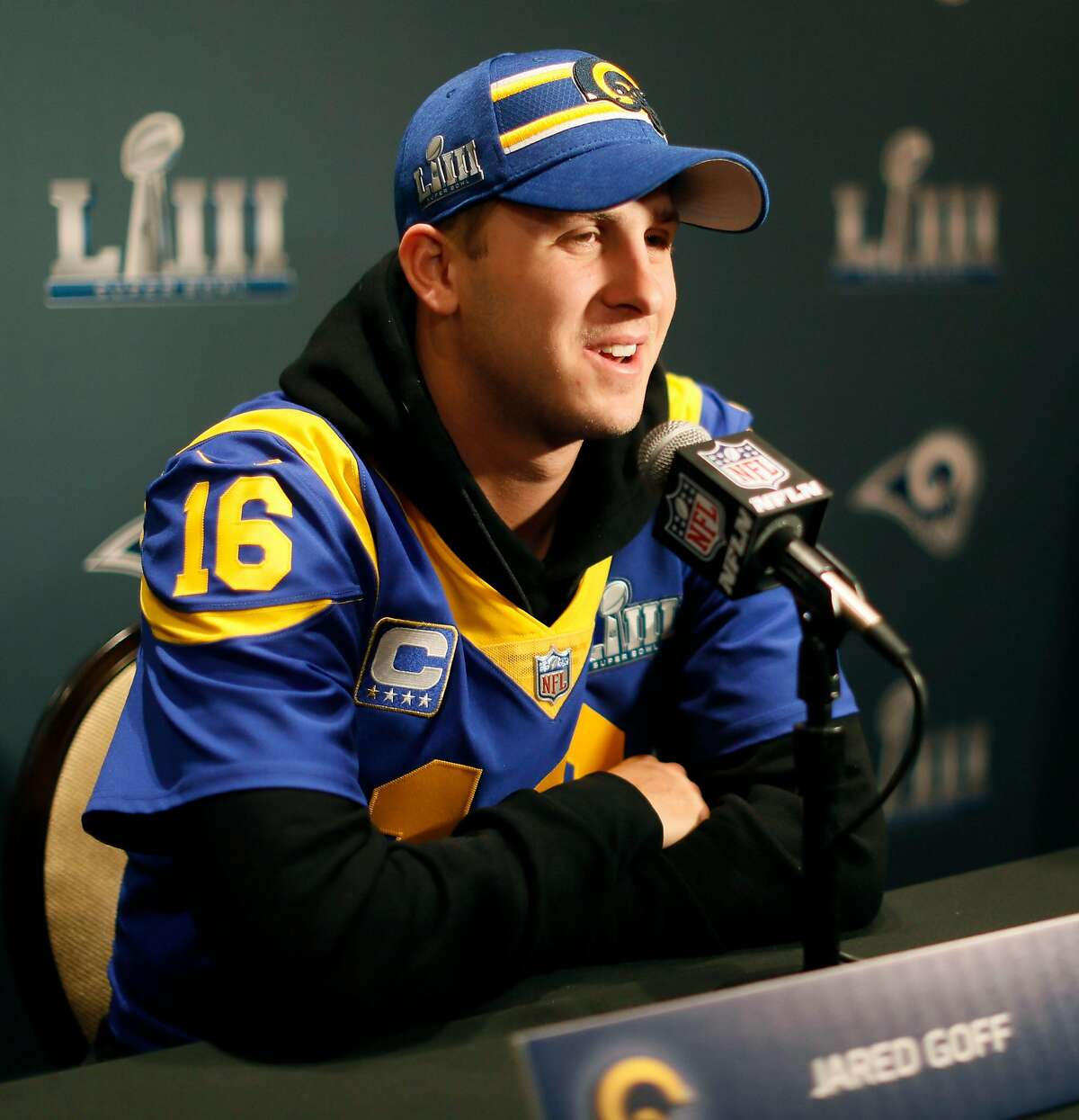 Los Angeles Rams quarterback Jared Goff (16) answers questions from the media during the final Los Angeles Rams media interviews before the Super Bowl on Jan. 31, 2019 in Atlanta, Ga. (Bob Andres/Atlanta Journal-Constitution/TNS)