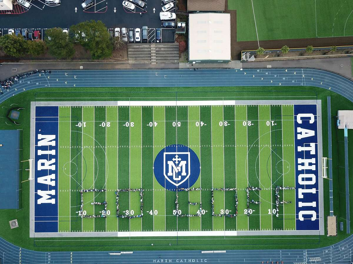 Students, staff and faculty at Marin Catholic High School in Greenbrae, Calif. gathered on the football field Thursday morning, January 31, 2019 to offer some encouragment to alumnus Jared Goff, who will be the quarterback for the Los Angeles Rams when they face the New England Patriots and Tom Brady in the Superbowl on Sunday, Feb. 3, 2019.