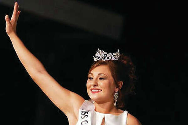 Miss Calhoun County 2018 Sydney White takes her first walk as reigning Miss Calhoun County at the pageant held in the county seat, Hardin, Illinois, last September.