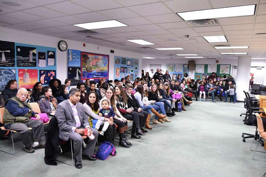 Families of Westover Magnet Elementary School students listen to them thank public officials for moving them to a new school after their old one was closed due to mold. Students moved to the school in November 2018 following a brief period where they were not in school as they awaited a new facility. In January, it was announced they'd make up these days in February and the rest in June. Photo: City Of Stamford / Contributed Photo / Stamford Advocate contributed
