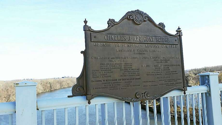 A plaque at the center of the Charles J. Arrigoni Bridge over the Connecticut River. Photo: Hearst Connecticut Media File Photo
