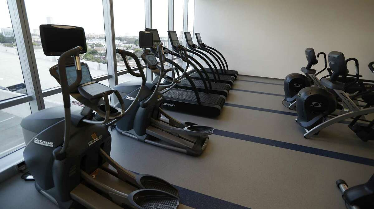The workout facility in PMRG's new office tower at 3737 Buffalo Speedway, Wednesday, Oct. 5, 2016 in Houston. ( Karen Warren / Houston Chronicle )