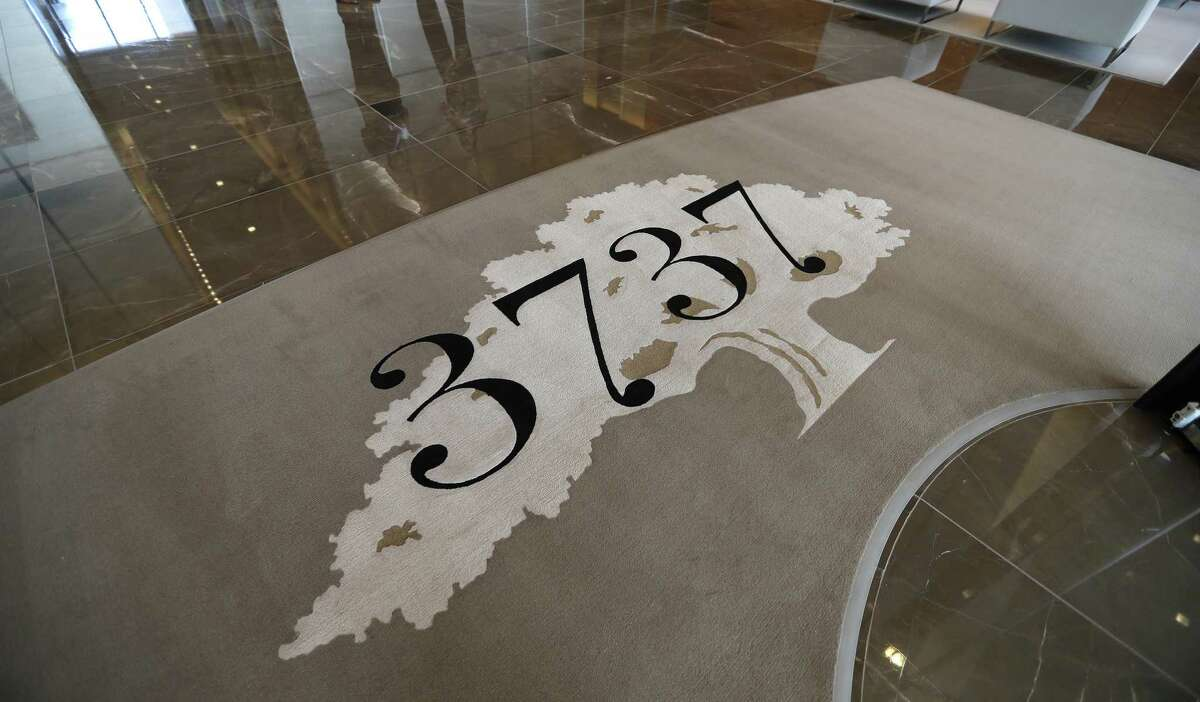 A rug with the 3737 logo in PMRG's new office tower at 3737 Buffalo Speedway, Wednesday, Oct. 5, 2016 in Houston. ( Karen Warren / Houston Chronicle )