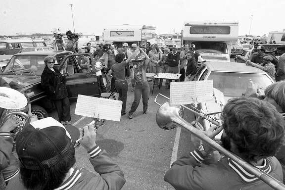 Oct. 25, 1981: San Francisco 49ers fans tailgate in the Candlestick Park parking lot before a win versus the Los Angeles Rams, during the eighth regular season game of the Super Bowl XVI season.