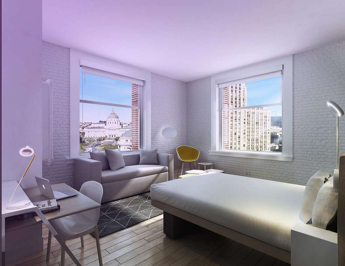 A rendering of Yotel San Francisco, which opens Feb. 1, 2019 in Mid-Market.