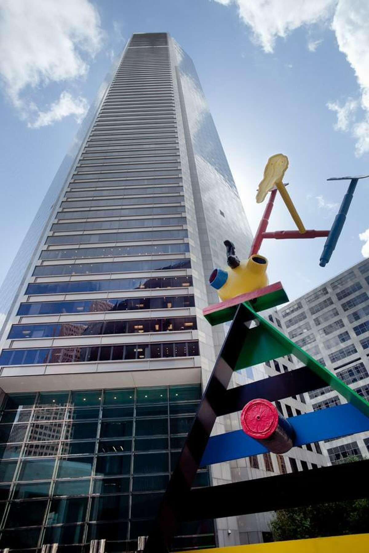 """The Joan Miró sculpture title """"Personage and Birds"""" will remain on site after a renovation of the plaza at 600 Travis."""