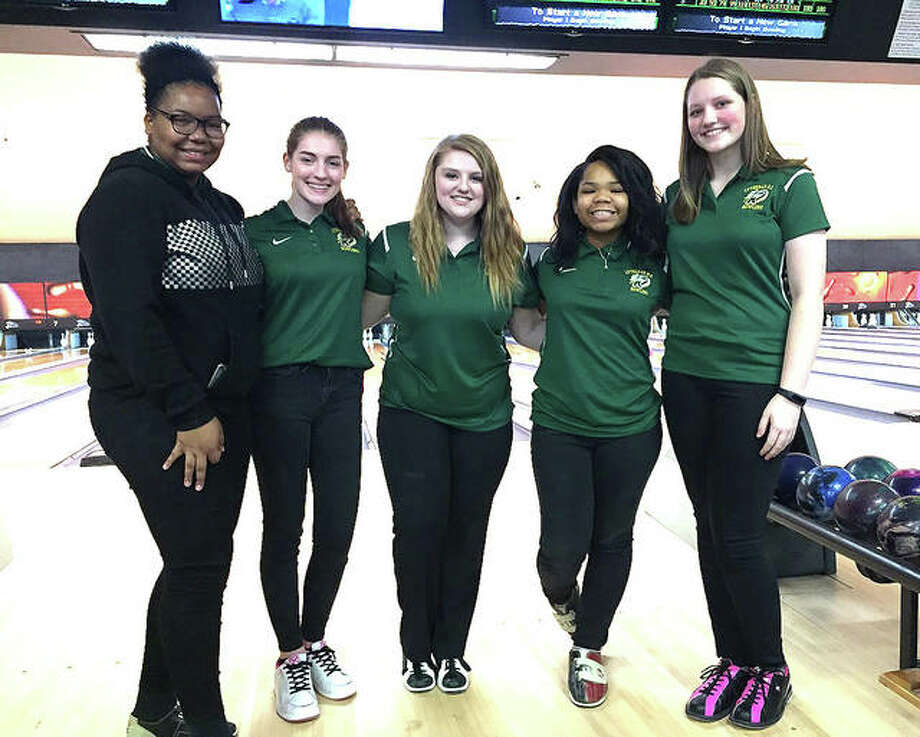 Members of the Metro-East Lutheran girls bowling team are, from left to right, Iman Walker, Sidney Polacek, Olivia Halusan, Alyceya Harris and Marissa Lowe. Photo: For The Intelligencer