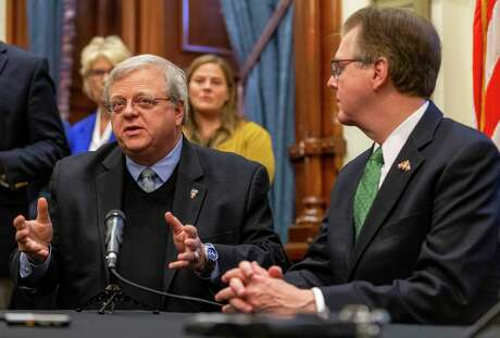 Lt. Gov. Dan Patrick and State Sen. Paul Bettencourt, R-Houston, announce a tax reform plan at the State Capitol in Austin, Wednesday, Jan. 31, 2019.(Stephen Spillman / for Express-News)