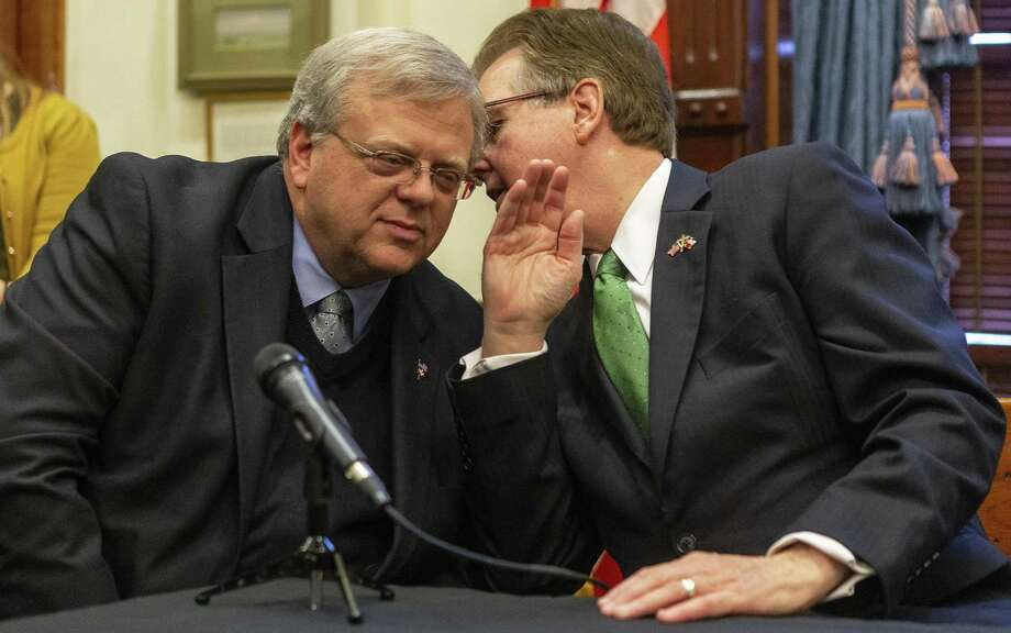 State Sen. Paul Bettencourt, R-Houston, and Lt. Gov. Dan Patrick, speak as they announce a tax reform plan at the State Capitol in Austin, Wednesday, Jan. 31, 2019.(Stephen Spillman / for Express-News) Photo: Stephen Spillman / Stephen Spillman / For Express-News / stephenspillman@me.com