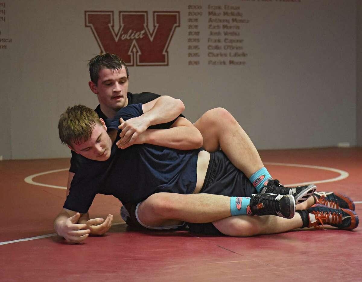 Watervliet wrestlers Sterling Spoon, back, and Nick McNulty at practice on Thursday, Jan. 31, 2019 in Watervliet, N.Y. (Lori Van Buren/Times Union)