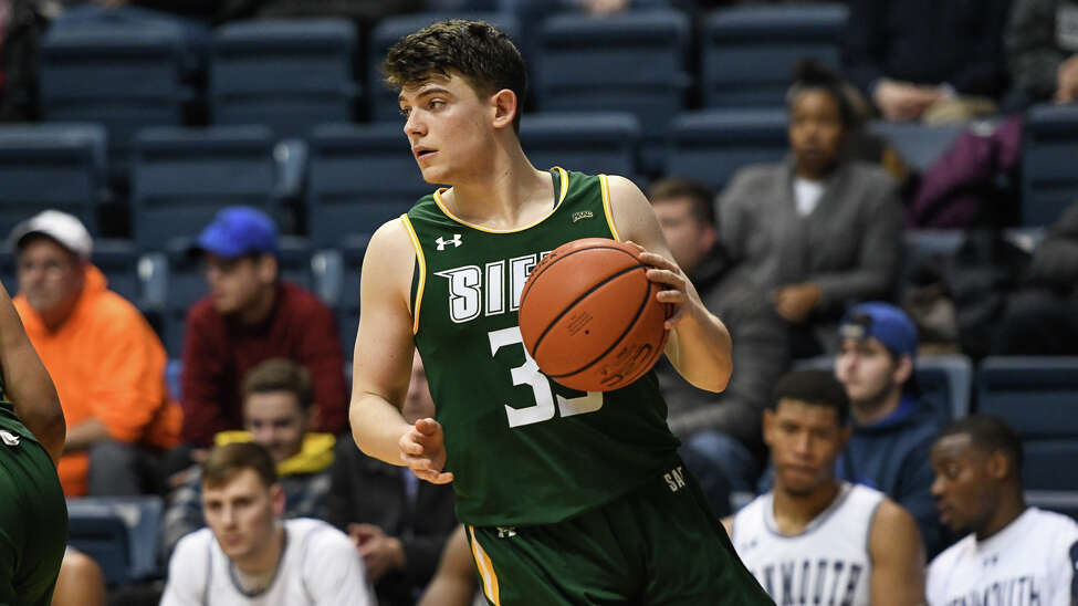 Siena's Georges Darwiche dribbles during the Saints' game against Monmouth on Thursday, Jan. 31, 2019. (Karlee Sell / Monmouth Athletics)