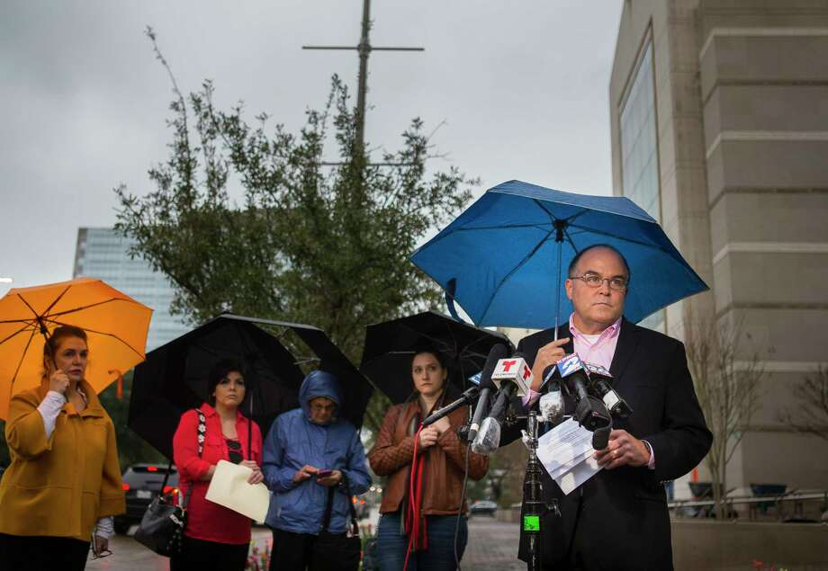 Michael Norris, who leads the Houston chapter of SNAP, the Survivors Network of those Abused by Priests, speaks to the media regarding the list of accused clerics released by the Archdiocese of Galveston / Houston, during a press conference in front of the Co-Cathedral of the Sacred Heart in downtown Houston, Thursday, Jan. 31, 2019. Photo: Mark Mulligan, Staff Photographer / © 2019 Mark Mulligan / Houston Chronicle