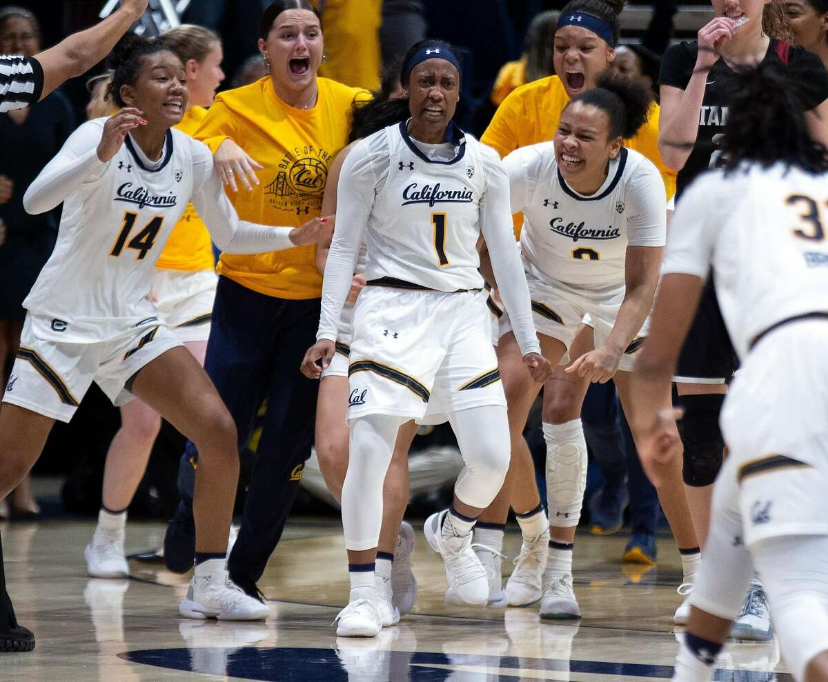 California guard Asha Thomas (1) reacts after making the game-winning shot against Stanford at the buzzer of the fourth quarter of an NCAA women's basketball game on Thursday, Jan. 31, 2019 in Berkeley, Calif. California beat Stanford 81-80.
