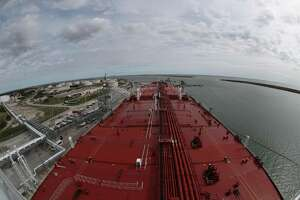 The view from on top of the Aral ship at the docked at Moda Ingleside Energy Center Friday, Jan. 25, 2019, in Ingleside. Houston marine terminal operator Moda Midstream LLC recently finished upgrades to a dock at the company's crude oil export terminal in Ingleside. A former naval base that received battleships and aircraft carriers, Moda's facility has received four Very Large Crude Carriers, or VLCC tankers, since December. Touted as some of the largest tankers in the world, Very Large Crude Carriers, or VLCCs, are capable of hauling up to 2 million barrels of crude oil of crude oil in a single shipment, making them attractive to exporters because they create economies of scale and lower transportation costs for global shipping. Moda's upgrades come at a time of record crude oil and natural gas production and exports in the United States. A recently opened pipeline delivers crude oil from the Permian Basin of West Texas that is shipped to customers in Europe and other overseas destinations.