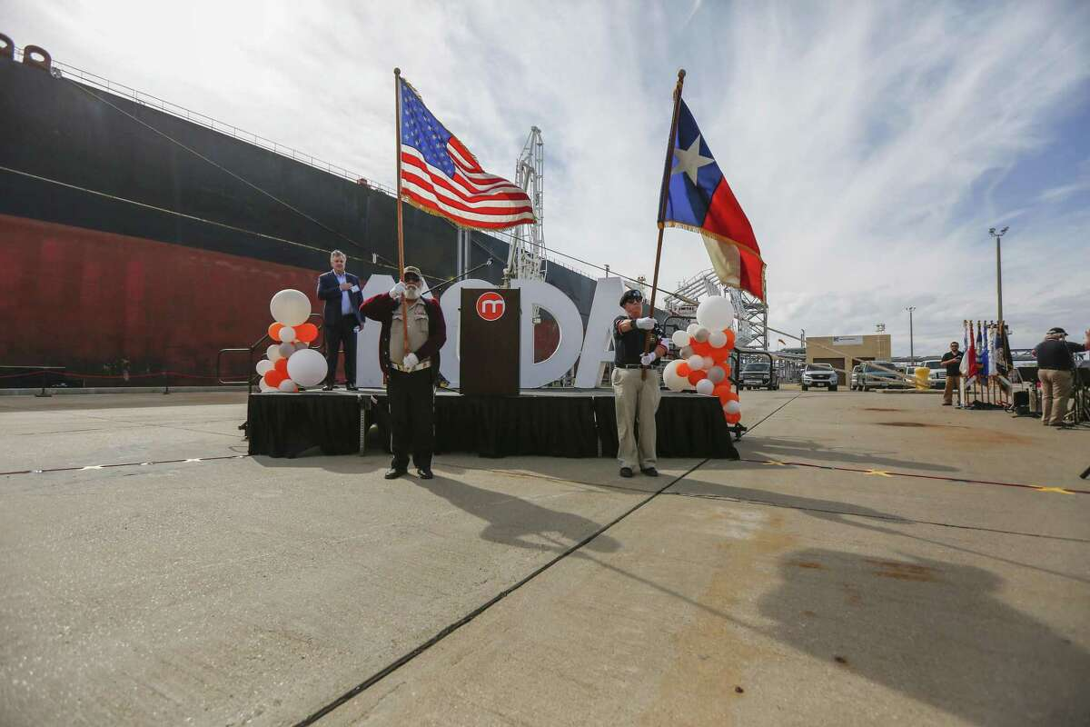 Moda Ingleside Energy Center officials and dignitaries participate in a ribbon cutting ceremony Friday, Jan. 25, 2019, in Ingleside. Moda's upgrades come at a time of record crude oil and natural gas production and exports in the United States. A recently opened pipeline delivers crude oil from the Permian Basin of West Texas that is shipped to customers in Europe and other overseas destinations.