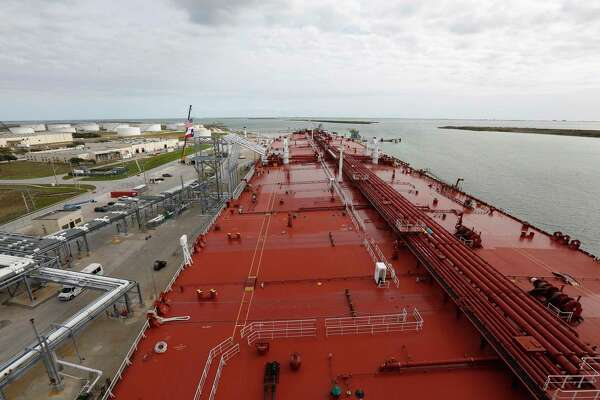 The view from the top deck of the Aral docked Moda Ingleside Energy Center Friday, Jan. 25, 2019, in Ingleside. Houston marine terminal operator Moda Midstream LLC recently finished upgrades to a dock at the company's crude oil export terminal in Ingleside. A former naval base that received battleships and aircraft carriers, Moda's facility has received four Very Large Crude Carriers, or VLCC tankers, since December. Touted as some of the largest tankers in the world, Very Large Crude Carriers, or VLCCs, are capable of hauling up to 2 million barrels of crude oil of crude oil in a single shipment, making them attractive to exporters because they create economies of scale and lower transportation costs for global shipping. Moda's upgrades come at a time of record crude oil and natural gas production and exports in the United States. A recently opened pipeline delivers crude oil from the Permian Basin of West Texas that is shipped to customers in Europe and other overseas destinations.