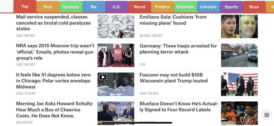 The SmartNews app for iOS and Android gives you a complete, uncluttered view of the latest news. Photo: Houston Chronicle Screenshot / Houston Chronicle Screenshot