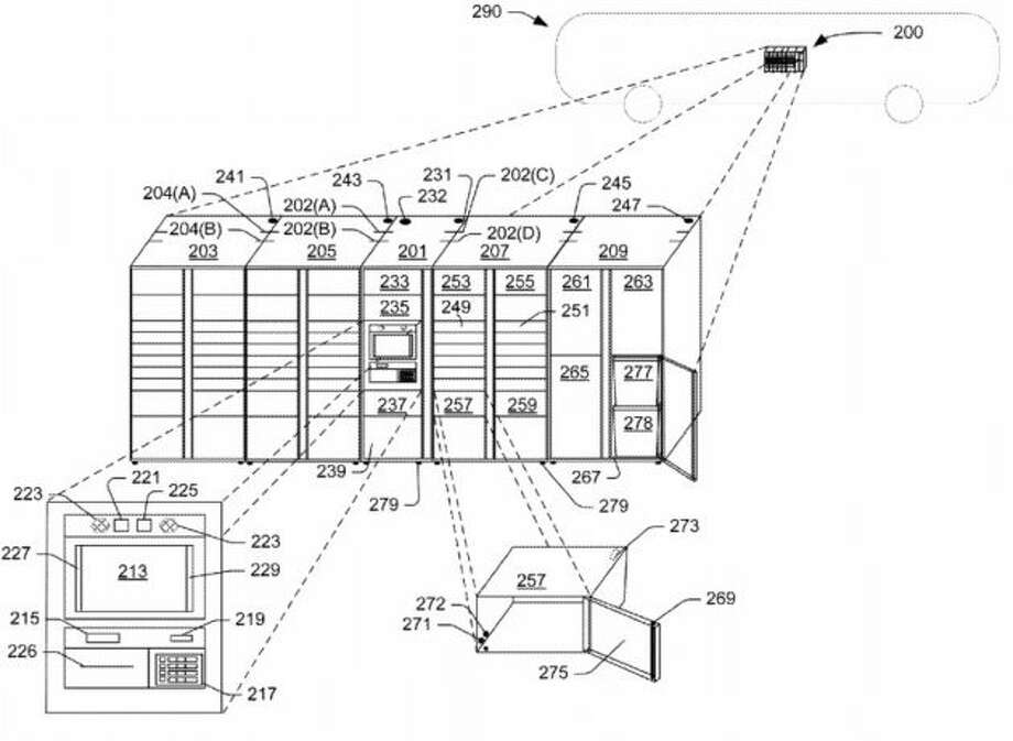 A schematic shows how an array of storage compartments might fit on a bus. (Amazon Illustration via USPTO) Photo: USPTO