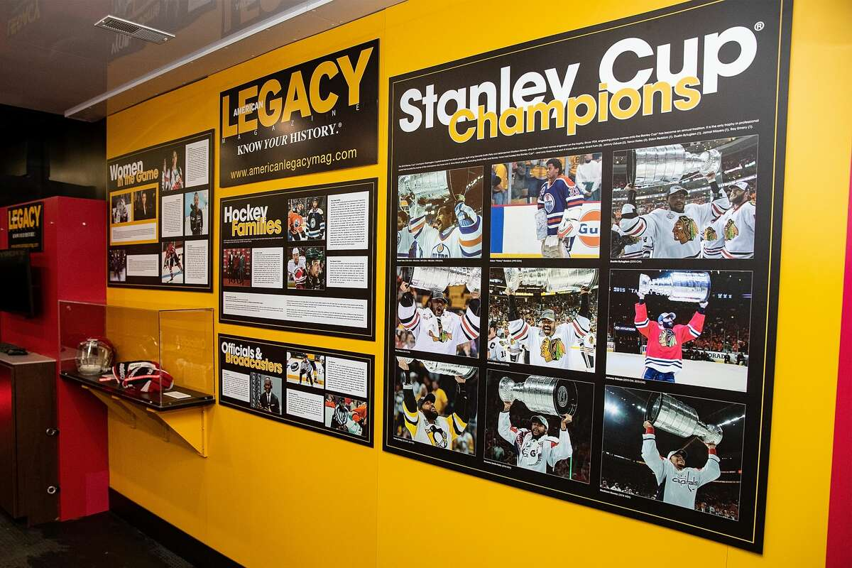 MADISON HEIGHTS, MI - JANUARY 29: Artifacts and images on display in the NHL American Legacy Black Hockey History Tour Museum trailer at MRA Corporate Headquarters on January 29, 2019 in Madison Heights, Michigan. (Photo by Dave Reginek/NHLI via Getty Images)
