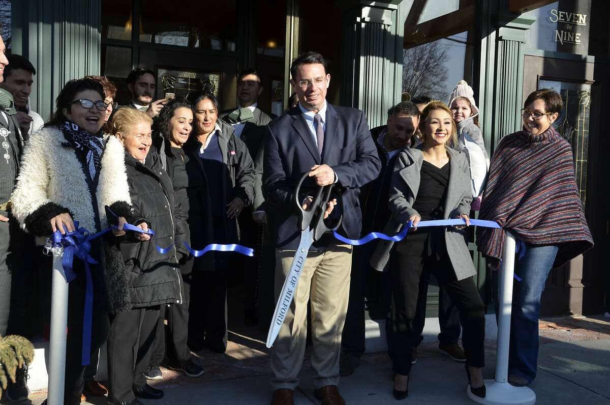 Yessica Trujillo-Macary, Mayor Ben Blake and members of the Chamber of Commerce gathered for a ribbon cutting at Los Cabos, 9 River St. Milford, CT on January 31, 2019.
