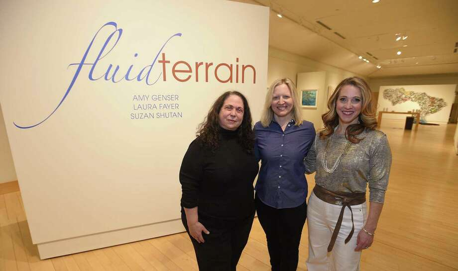 "Artists Suzan Shutan, Laura Fayer and Amy Genser at the ""Fluid Terrain"" exhibit at Greenwich Library's Flinn Gallery. The show's last day is this Wednesday. Photo: Matthew Brown / Hearst Connecticut Media / Stamford Advocate"