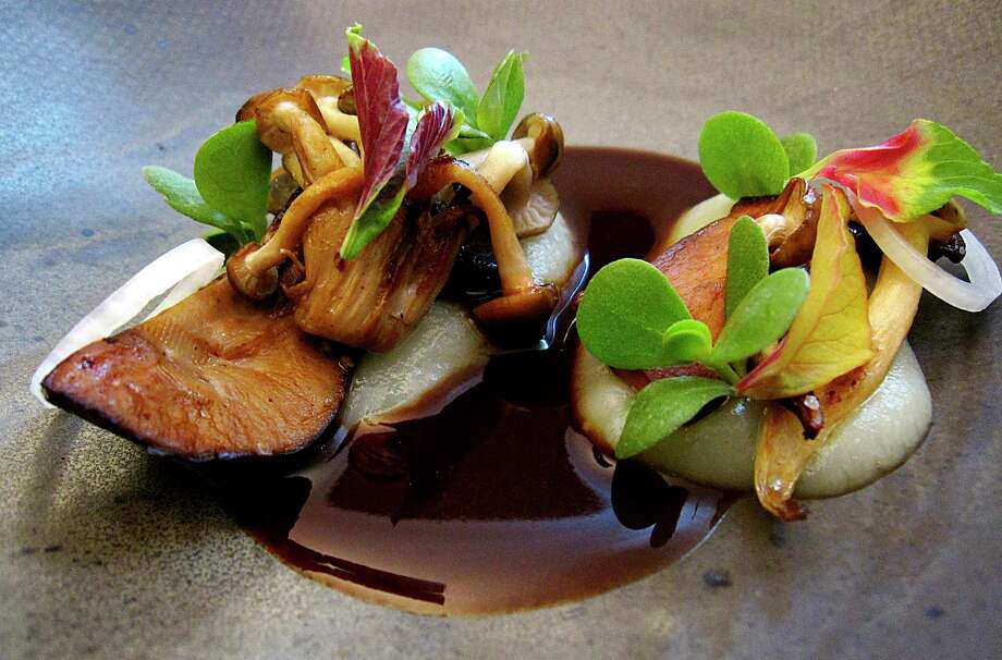 Wild mushrooms, bordelaise and parsnips from the Trans-Mexican Volcanic Belt menu at Mixtli, a progressive Mexican restaurant in Olmos Park that's moving to Southtown this fall. Photo: Mike Sutter /Staff