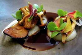 Wild mushrooms, bordelaise and parsnips from the Trans-Mexican Volcanic Belt menu at Mixtli, a progressive Mexican restaurant in Olmos Park that's moving to Southtown this fall.