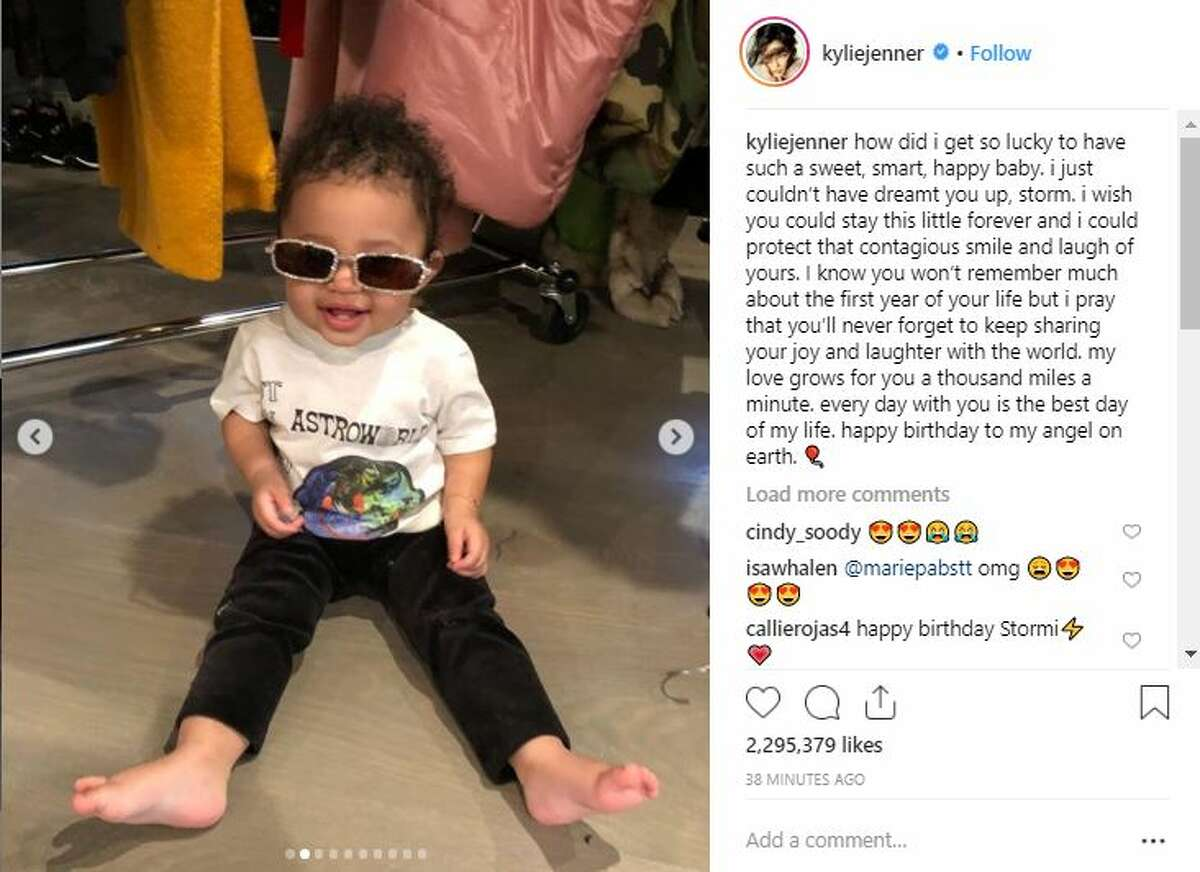 """In an Instagram photo gallery, Kylie Jenner posted 10 photos, including the one above, featuring Stormi. The caption reads: """"How did i get so lucky to have such a sweet, smart, happy baby. i just couldn't have dreamt you up, storm. i wish you could stay this little forever and i could protect that contagious smile and laugh of yours. I know you won't remember much about the first year of your life but i pray that you'll never forget to keep sharing your joy and laughter with the world. my love grows for you a thousand miles a minute. every day with you is the best day of my life. happy birthday to my angel on earth"""""""