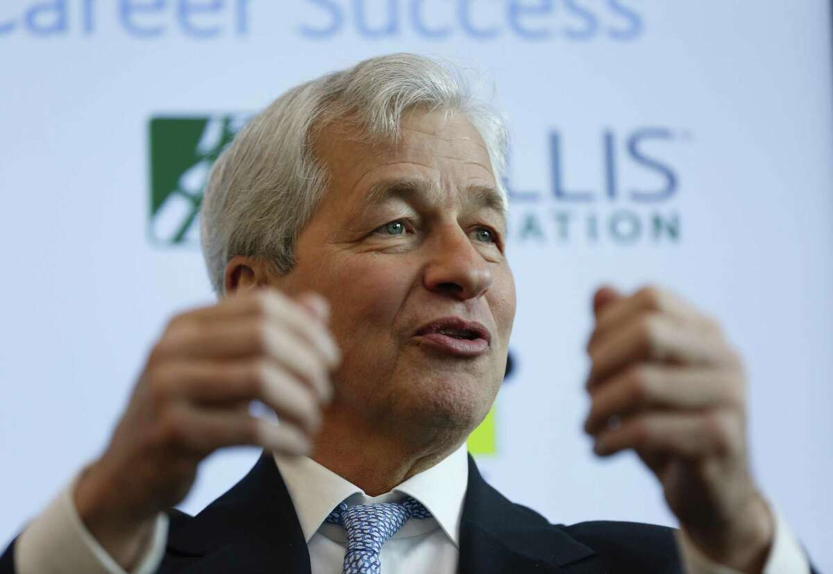 Chase Bank CEO Jamie Dimon took part in an event at SER Jobs where Chase is donating $1.3 million to help disconnected youths Thursday, Jan. 31, 2019, in Houston.
