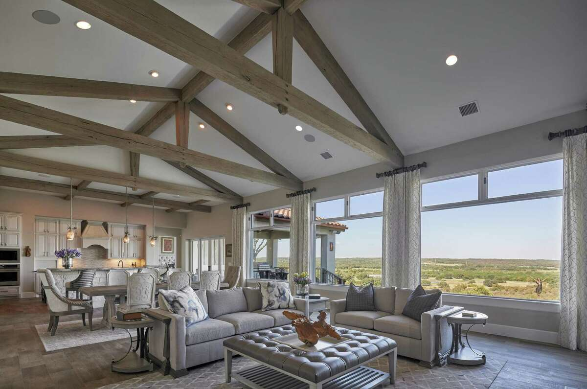 Exposed white oak trusses are an architectural statement in Will and Lana Holder's San Marcos home. The trusses aren't just for looks; they're part of the home's structure.