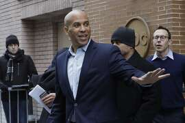 """U.S. Sen. Cory Booker, D-NJ, leaves ABC studios in New York after an appearance on The View, Friday, Feb. 1, 2019. Booker on Friday declared his bid for the presidency in 2020 with a sweeping call to unite a deeply polarized nation around a """"common purpose."""" (AP Photo/Mark Lennihan)"""