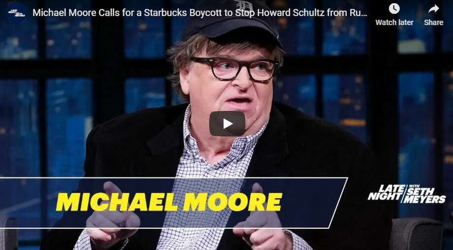 "Michael Moore called for a Starbucks boycott on ""Late Night with Seth Myers"" Thursday night. Howard Schultz has said he is considering running for president in 2020.  See Michael Moore's ""Late Night"" appearance in the video below.  Keep clicking to see photos of Howard Schultz through the years... Photo: YouTube Screen Grab"