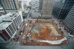 Construction underway at the Houston-based Hines' tower at 801 Texas, on the former Houston Chronicle site downtown, Friday, Feb. 1, 2019, in Houston.