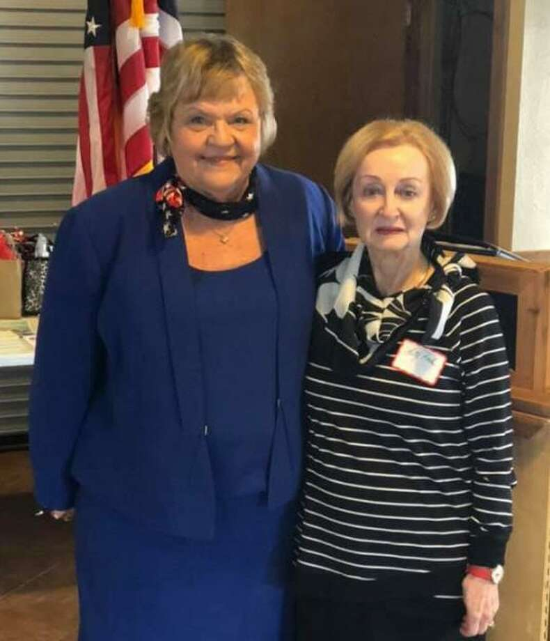 Jean Machann, left, thanks Patty Raske, past KBA president, for installing the Katy Business Association officers for 2019-21. Machann is the new president of the business group. Photo: Https://www.facebook.com/katybusinessassociation/ / Https://www.facebook.com/katybusinessassociation/