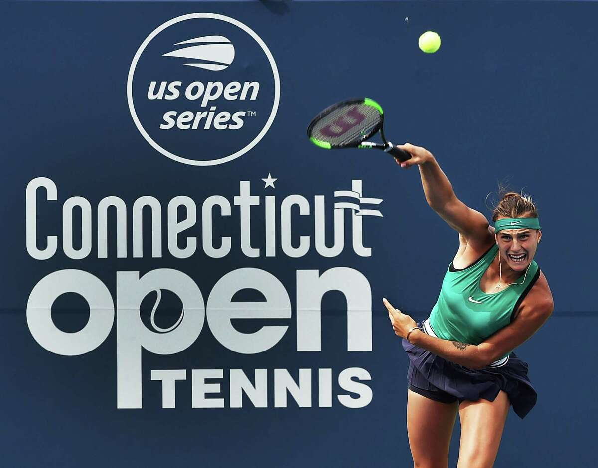 Belarusian Aryna Sabalenka serves to Spain's Carla Suarez Navarro in the Connecticut Open championship on Stadium Court Saturday, August 25, 2018, at the Connecticut Tennis Center at Yale in New Haven. Sabalenka won, 6-1, 6-4.