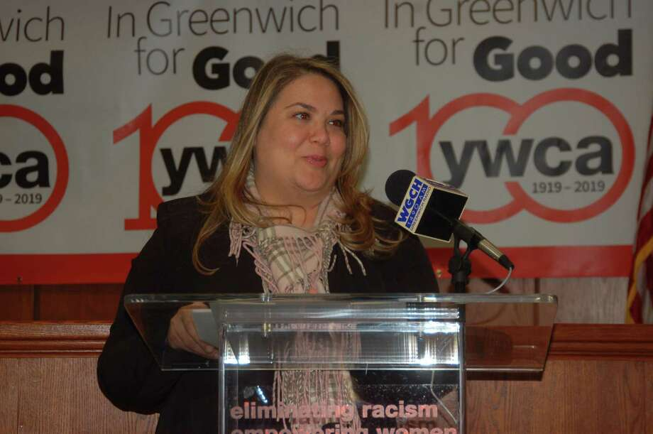 Meredith Gold, head of domestic abuse services for YWCA Greenwich, stressing the importance of education and outreach to stop teen dating violence in an event Friday at Town Hall. Photo: Ken Borsuk / Hearst Media Group /