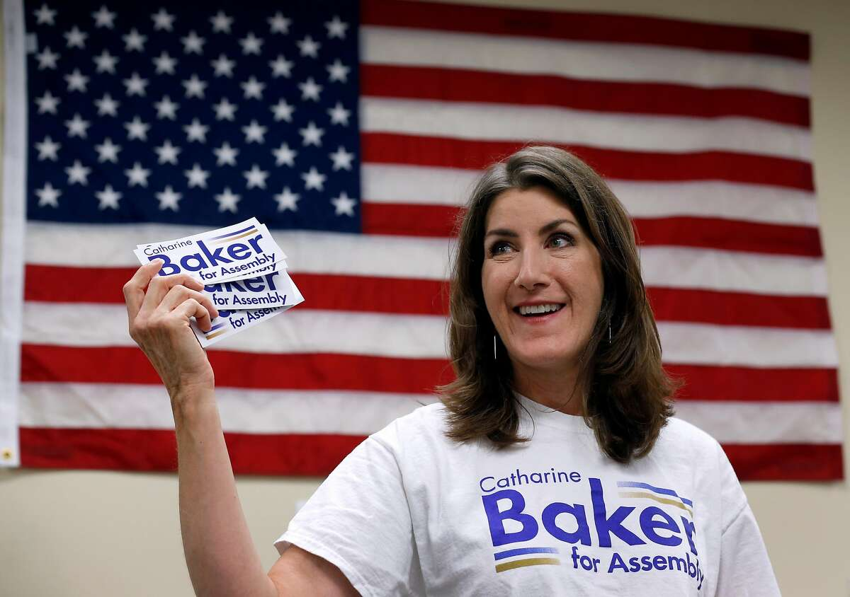 Assemblywoman Catharine Baker addresses a group of volunteers at her campaign headquarters before they fan out to canvass neighborhoods in San Ramon, Calif. on Saturday, Sept. 29, 2018. The incumbent Republican is facing a challenge for her 16th District seat from Democratic candidate Rebecca Bauer-Kahan.