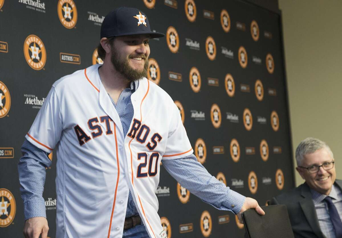 The Houston Astros new left-handed pitcher Wade Miley leaving a press conference at Minute Maid Park on Friday, Feb. 1, 2019, in Houston. Miley and the Astros reached a one-year, $4.5 million deal.