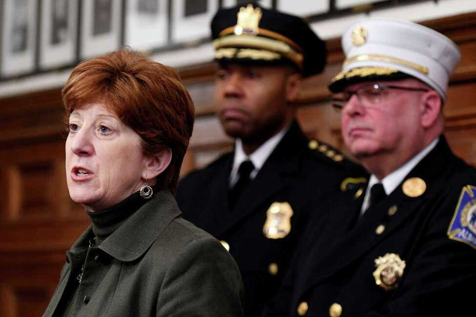 Mayor Kathy Sheehan, left, Police Chief Eric Hawkins, center, and Fire Chief Joseph Gregory, right, answer questions during a press conference on the utility explosion that damage property on Henry Johnson Blvd. on Friday, Feb. 1, 2019, at City Hall in Albany, N.Y. (Will Waldron/Times Union)