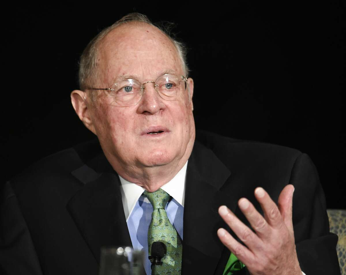 FILE - In this July 15, 2015 file photo, Supreme Court Justice Anthony Kennedy speaks in San Diego. As one justice settles into his new job at the Supreme Court, is another about to leave? Eighty-year-old Kennedy is so far refusing to comment on speculation that he may soon retire after 29 years on the court. (AP Photo/Denis Poroy, File)