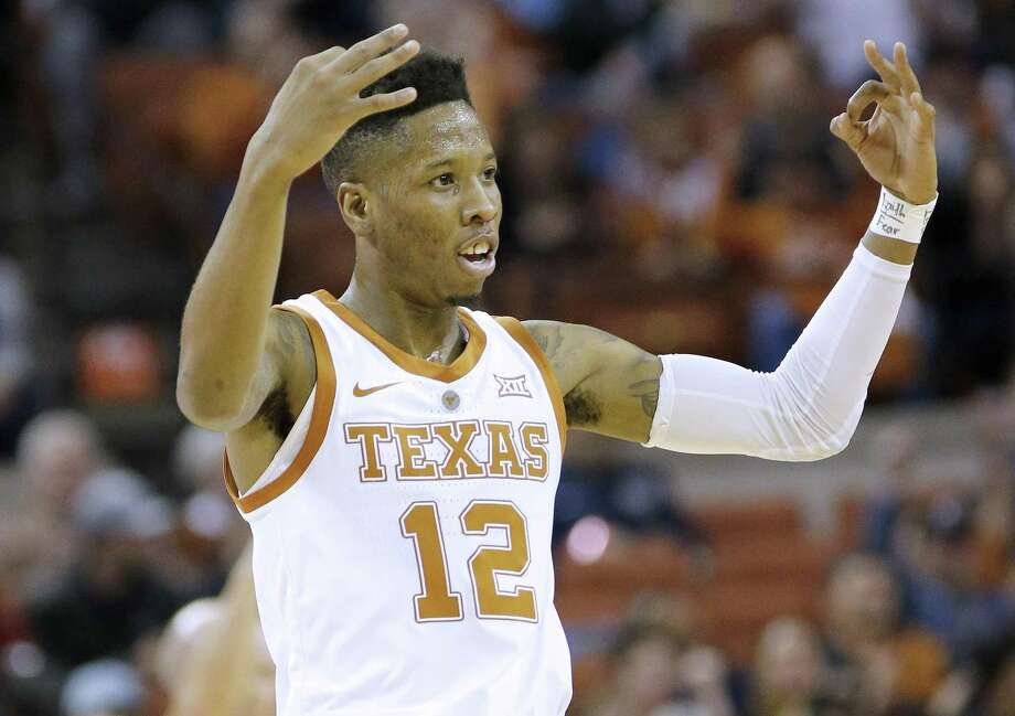 AUSTIN, TEXAS - JANUARY 29: Kerwin Roach II #12 of the Texas Longhorns reacts as his team plays the Kansas Jayhawks at The Frank Erwin Center on January 29, 2019 in Austin, Texas. (Photo by Chris Covatta/Getty Images) Photo: Chris Covatta, Stringer / Getty Images / 2019 Getty Images