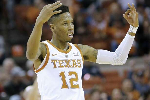 AUSTIN, TEXAS - JANUARY 29: Kerwin Roach II #12 of the Texas Longhorns reacts as his team plays the Kansas Jayhawks at The Frank Erwin Center on January 29, 2019 in Austin, Texas. (Photo by Chris Covatta/Getty Images)