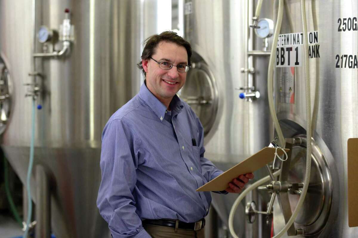 Aspetuck Brew Lab owner Peter Cowles at his new micro brewery on Fairfield Avenue in Bridgeport, Conn.