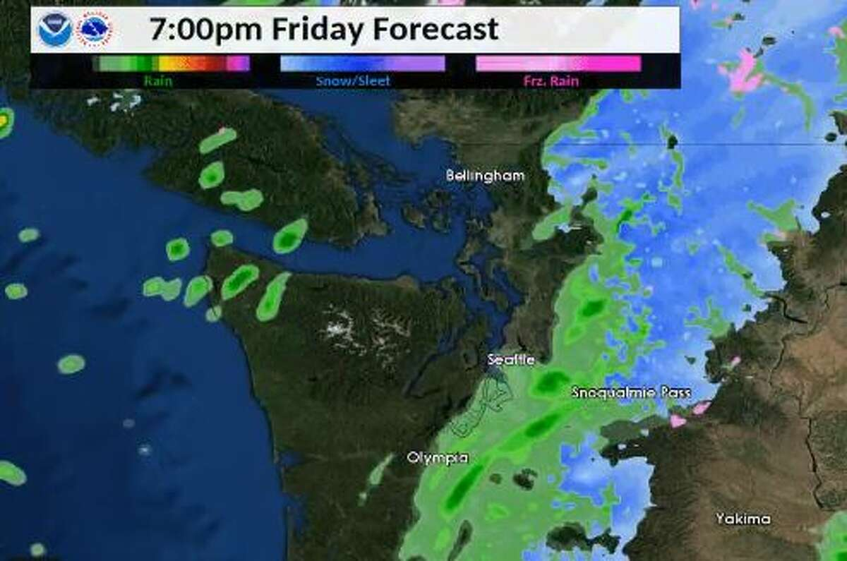 Showers were expected to continue off and on through Friday evening.