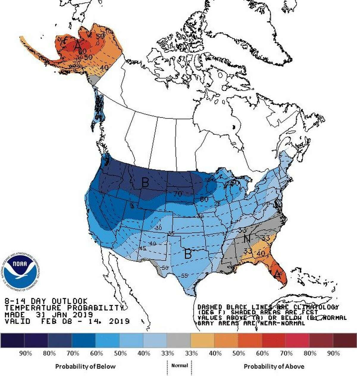 Cold weather was expected to linger through the early part of February, according to the National Weather Service.