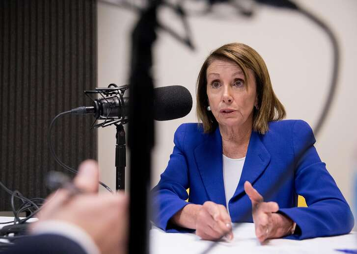 "Democratic Speaker of the House Nancy Pelosi sits down with San Francisco Chronicle's political reporter Joe Garofoli to record an episode of the ""It's All Political"" podcast at the San Francisco Chronicle building in San Francisco, Calif. Friday, Feb. 1, 2019."