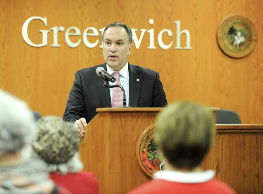 First Selectman Peter Tesei announces he will not seek reelection before a crowd of supporters gathered in the meeting room at the Greenwich Town Hall on Friday, Feb. 1, 2019 in Greenwich, Connecticut. Photo: Matthew Brown / Hearst Connecticut Media / Stamford Advocate